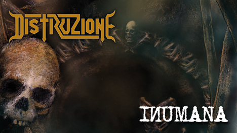 <strong>February 2018:</strong> Distruzione 'Inumana', new Ep, now available on Lp+Cd (first 100 copies green wax), Cardboard Cd, Digital. Prepare to headbang! (Click for details)